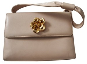 Chanel Gold Camellia Pink Clutch