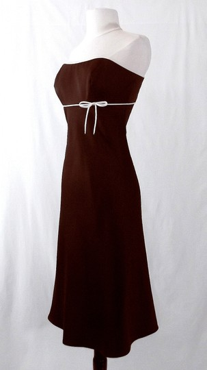 Alfred Angelo Chocolate / Ivory Satin Style 6132 Casual Bridesmaid/Mob Dress Size 6 (S)