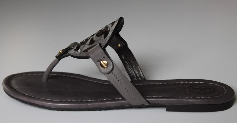 e2bd2823746a Tory Burch Grey Taupe Nwb Miller Flat Thong Flip Flop Leather Snake Print  Logo Sandals Size US 11 Regular (M