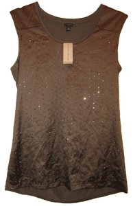 Ann Taylor Rayon Fabric W/silver Metal Design Top Brown