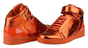 Gucci Men's Hi Top Sneakers Velcro Leather Fashion Style 337216 B8vb0 7581 Size 10 11 Italy Orange Athletic
