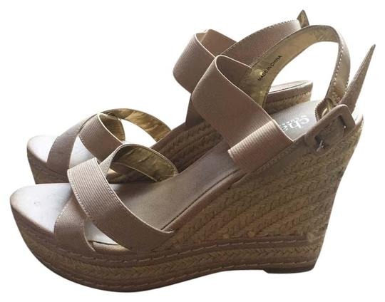 Charles David Summer Sandals Platform Nude Wedges