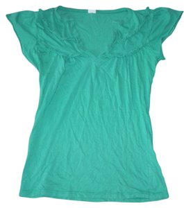 Anthropologie Ruffle Front Top Green