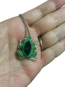 Other Necklace Green CZ Frog on A silver chain very sparkling