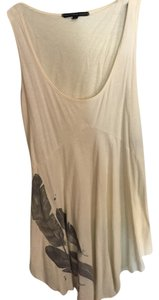 Urban Outfitters Hi-lo Gray Feathers Top cream