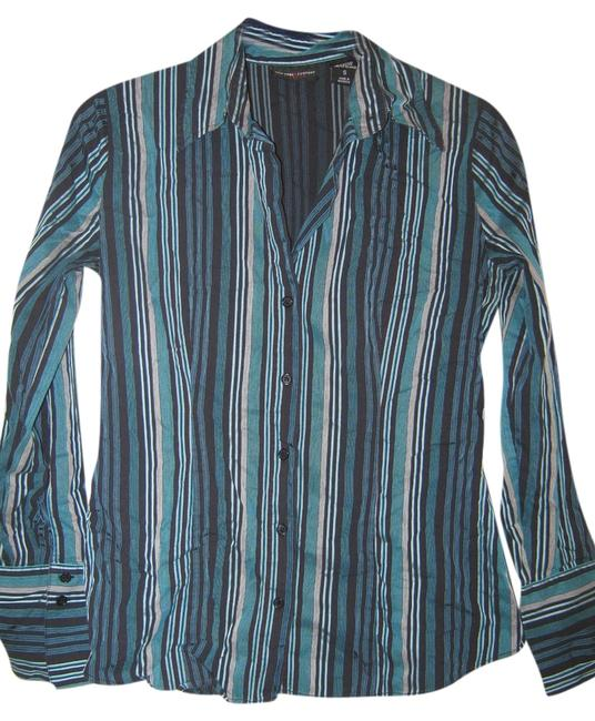 New York & Company Striped Design Button Down Shirt Black/teal/silver