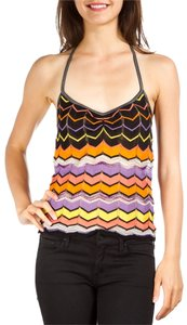 M Missoni Black Purple Yellow Orange Halter Top