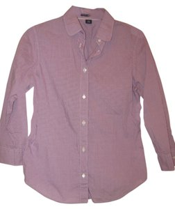 Gap 3/4 Sleeve Button Down Shirt Purple/white checkered