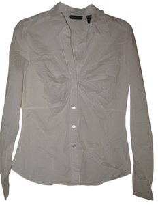 New York & Company Gathered Front Stretch Button Down Shirt white