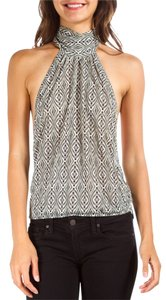 Chloé White Grey Nacvy Halter Top