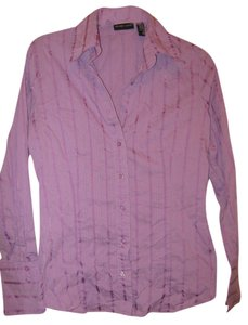 New York & Company Striped Button Down Shirt Purple