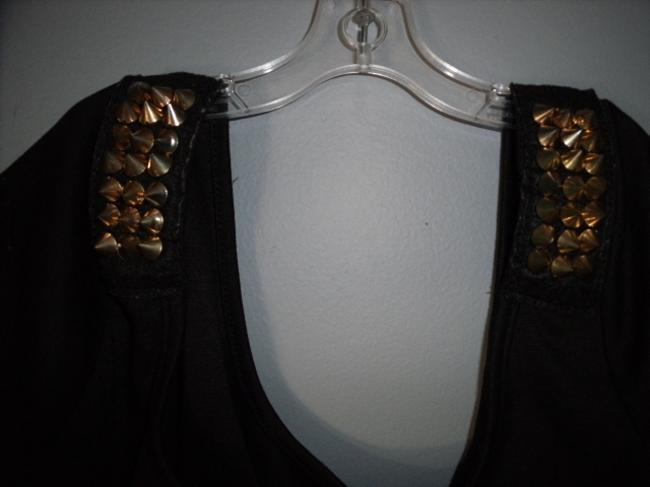 Love Couture Spikes Punk Fetish Gothic Black and Brass Halter Top
