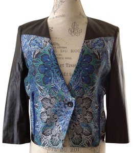 Helmut Lang Floral Jacket Leather Jacket Blue Blazer