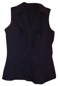 New York & Company Ruffle Front Sleeveless Button Down Shirt Dark purple