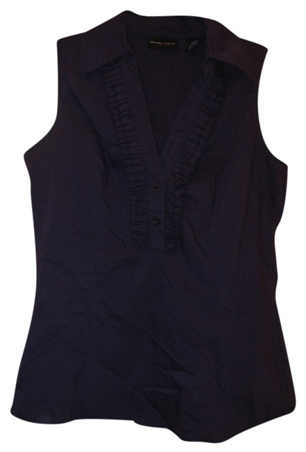 Preload https://item5.tradesy.com/images/new-york-and-company-dark-purple-ruffle-front-sleeveless-button-down-top-size-2-xs-3733039-0-0.jpg?width=400&height=650
