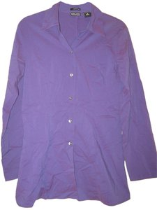 New York & Company Citystretch Button Down Shirt Purple
