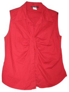 Jamie Nicole Collection Sleeveless Button Down Shirt Red