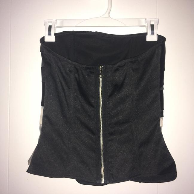 Charlotte Russe Corset Shirt Strapless Top Black/cream