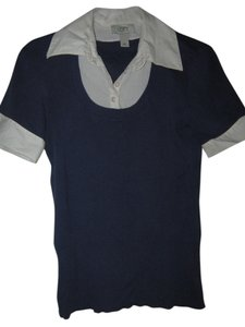 Ann Taylor LOFT 100% Pima Cotton Top Blue w/white collar