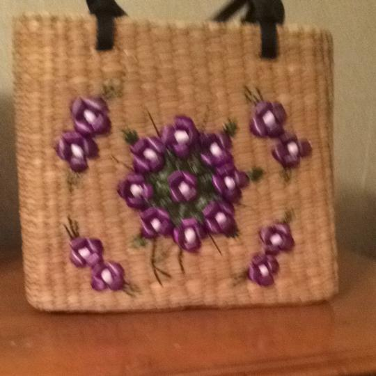 Kate Spade Tote in Purple Floral Embroidered Straw