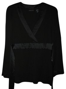 New York & Company Kimono Sleeves Silky Trim Top Black