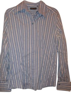 New York & Company Button Down Shirt Blue/white/silver stripes
