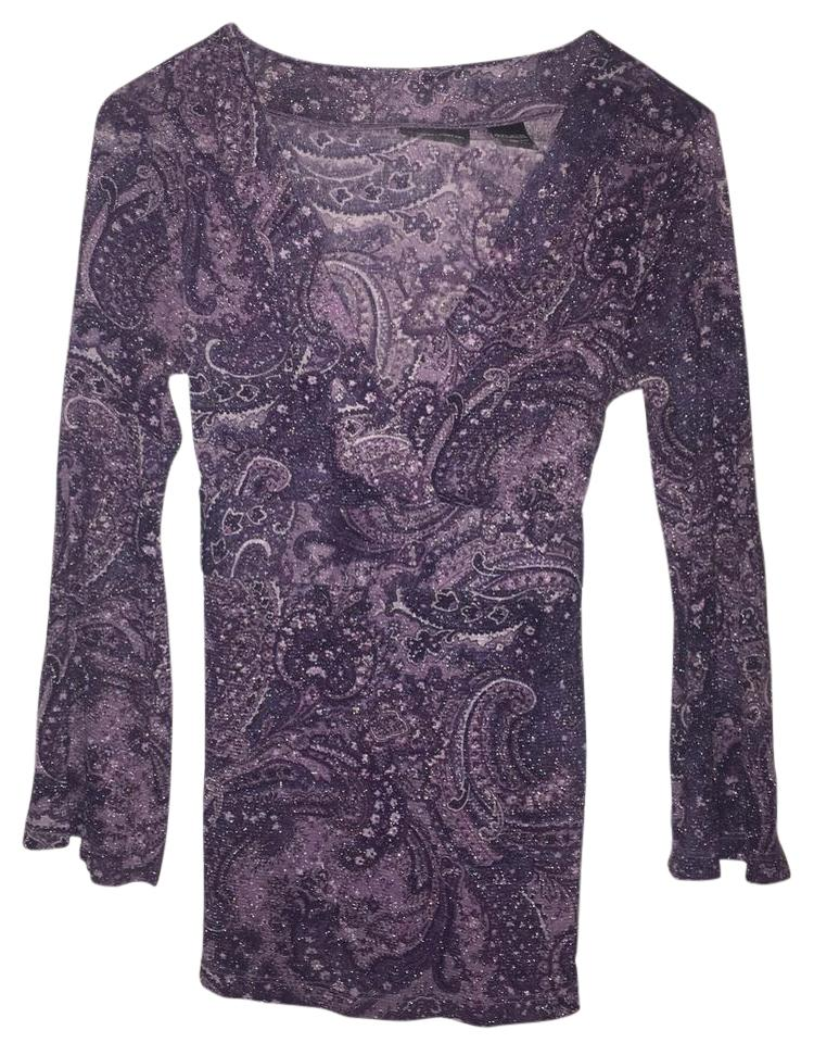 6902d2dacc59 New York & Company Sparkly Paisley Pattern 3/4 Sleeve Top Purple Image 0 ...