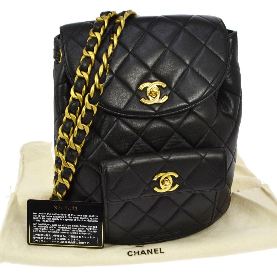 Chanel Backpack Skin Turn Lock Black Lambskin Leather Backpack - Tradesy 3e425930cf50
