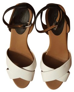 Coach Leather Espadrille White and Black Wedges