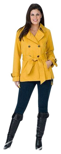 G.E.T. Outerwear Raincoat Water Repellant Half Trench sunny yellow Jacket