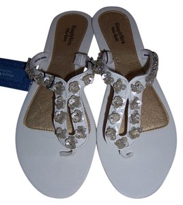 Vera Wang White with Silver Sequin Sandals
