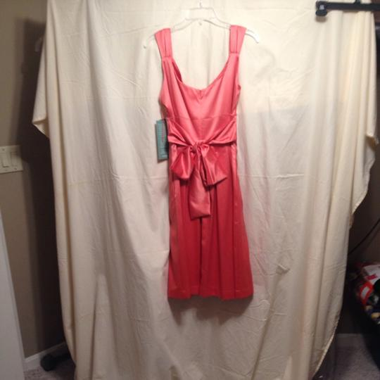Coral Satin Traditional Bridesmaid/Mob Dress Size 12 (L)
