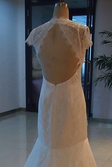 Light Ivory White Lace All Keyhole Open Back Mermaid Never Worn Cap Slv Sexy Dress Size 6 (S)