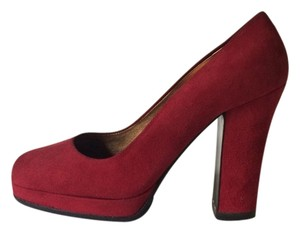 Miu Miu Platform Suede Red Pumps