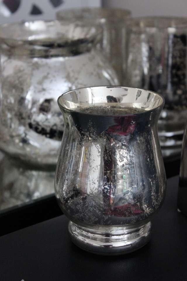 Silver mercury glass vases small hurricane candle