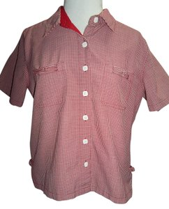 Christopher & Banks Short Sleeve Checker Button Front Collar Pads Button Down Shirt Red/White