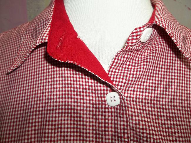 Christopher & Banks Short Sleeve Checker Button Front Collar Shoulder Pads Button Down Shirt Red/White