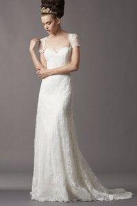Watters Ivory Lace with Embroidered Lace 3735067 Feminine Wedding Dress Size 2 (XS)