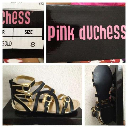 Pink Duchess Cute Black & Gold Sandals