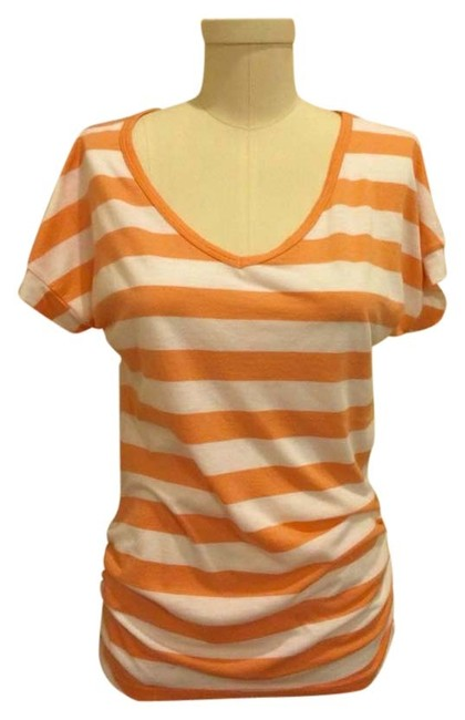 Splendid V-neck Striped Cotton Theory Vince Free People Joie Helmut Lang Tunic Long T Shirt White Orange