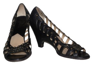 Michael Kors Leather Open Toe Peep Toe. Caged Heels Wedges Brass Studded Studs Sexy Black Pumps