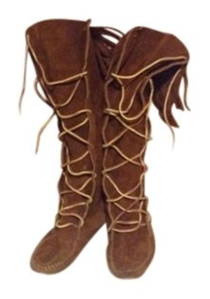 Minnetonka Braun Fringe Knee Stiefel High Moccasin Stiefel Knee Booties Größe US 7.5 825137