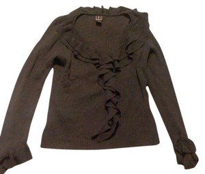 INC International Concepts Cla Classic Fall Ruffle V-neck Longsleeve Sweater