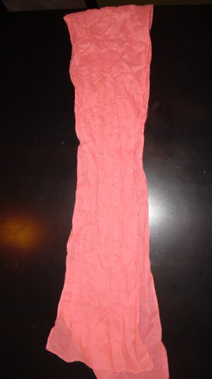 Other Salmon Pink Pastel Eyelet Embroidered Summer Scarf