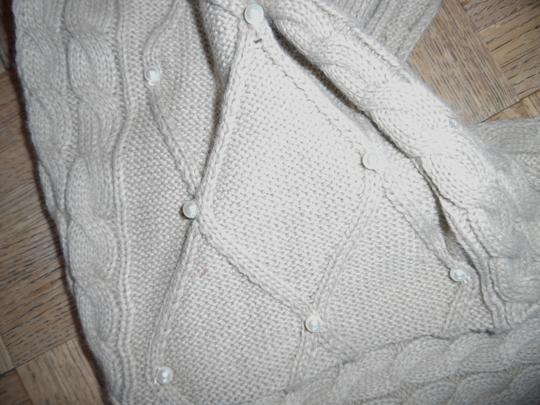Other Beige Tan Cable Knit Thick Pearl Beaded Sweater Scarf