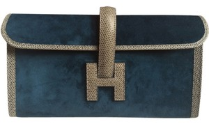 Hermès New Bnib Suede Lizard Jige Ocean Blue and Gris Fonce Clutch