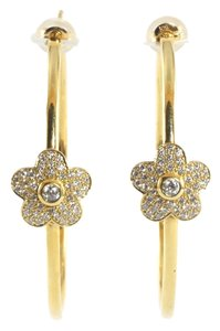Asbury & Guldag Aspery & Guldag 18K Yellow Gold Flower Hoop Earrings Diamond 2