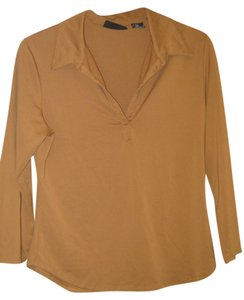 New York & Company 3/4 Sleeve Stretch Top Tan/camel