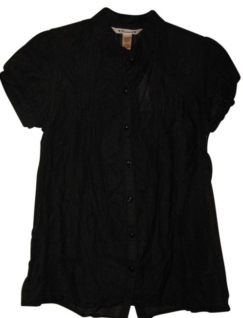 Forever 21 Cotton/Silk Blend Button Down Shirt Black