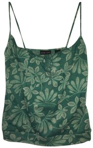New York & Company Spaghetti Strap Floral Pattern Top Green